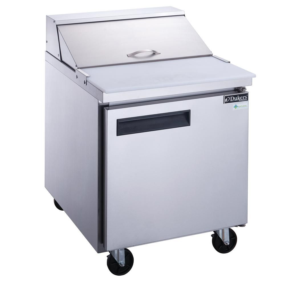 Dukers 29 In W 6 5 Cu Ft 1 Door Commercial Food Prep Table Refrigerator In Stainless Steel Silver Adjustable Shelving Wooden Cooler Appliance Cabinet