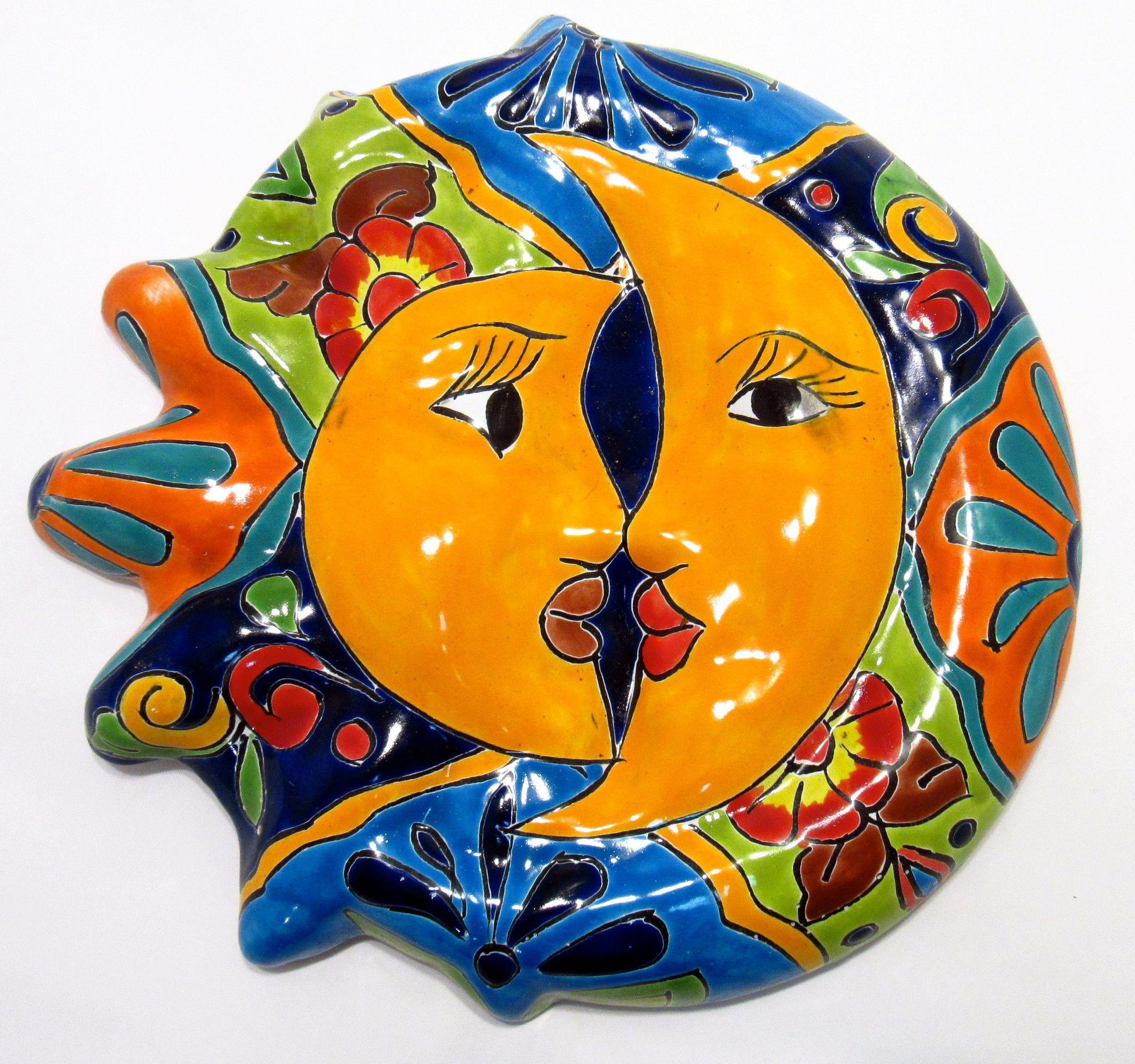 Mexican Wall Hanging Talavera Pottery Sun And Moon Face