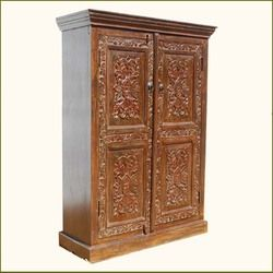 Solid Wood Carved Storage Armoire Wardrobe Closet Shelf Solid