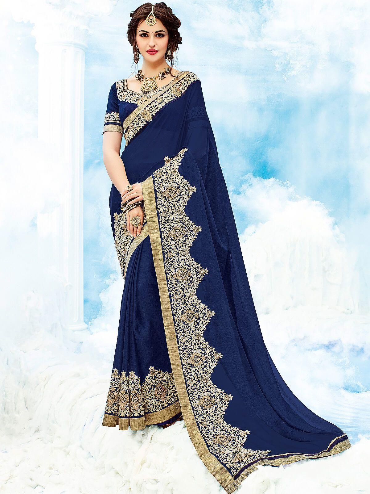 46b8cb88f2 Genial navy blue party wear chiffon designer saree. Having fabric chiffon  and raw silk. This gorgeous saree is displaying some brilliant embroidery  done ...