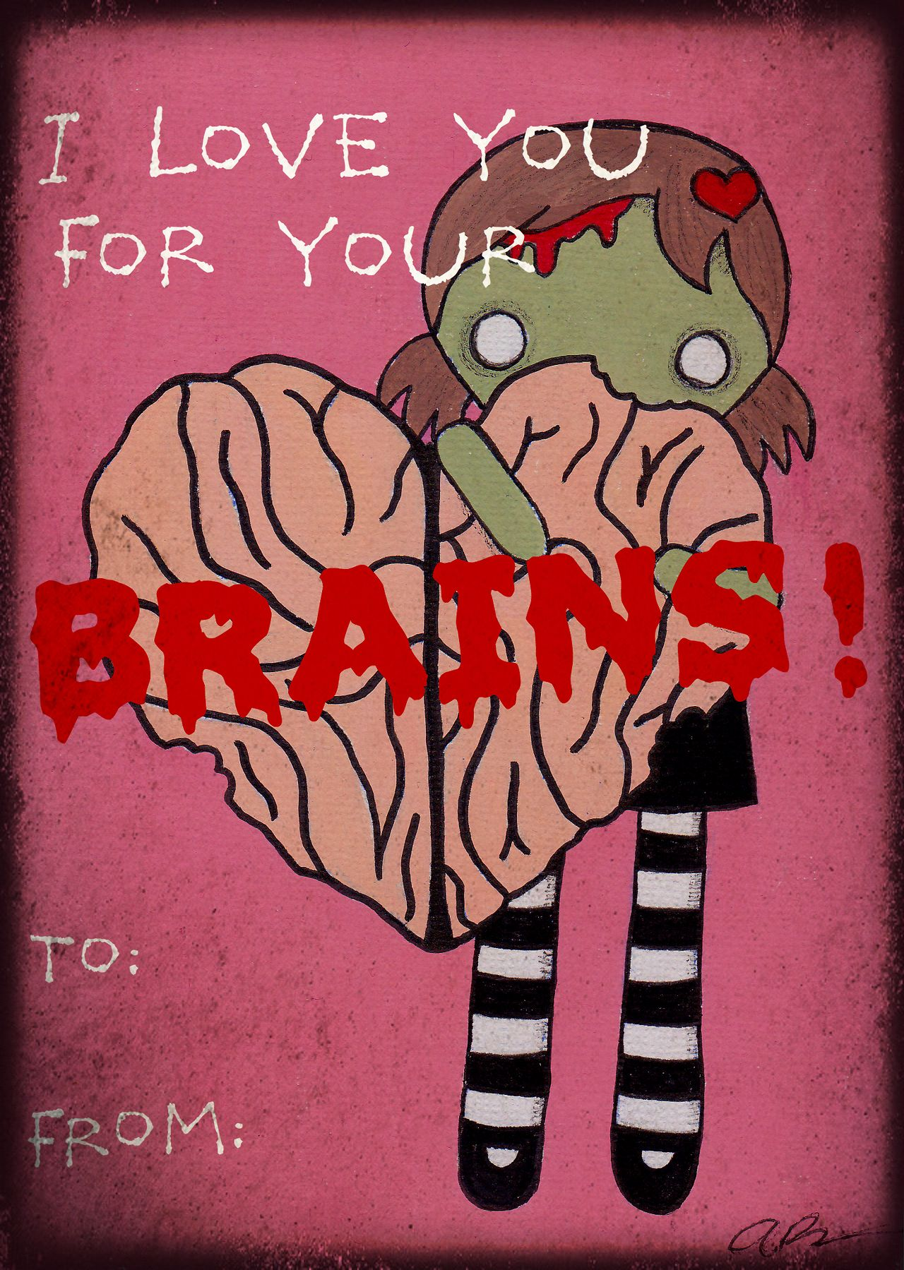 For Valentines Day were sharing a free printable zombie – Zombie Valentines Cards