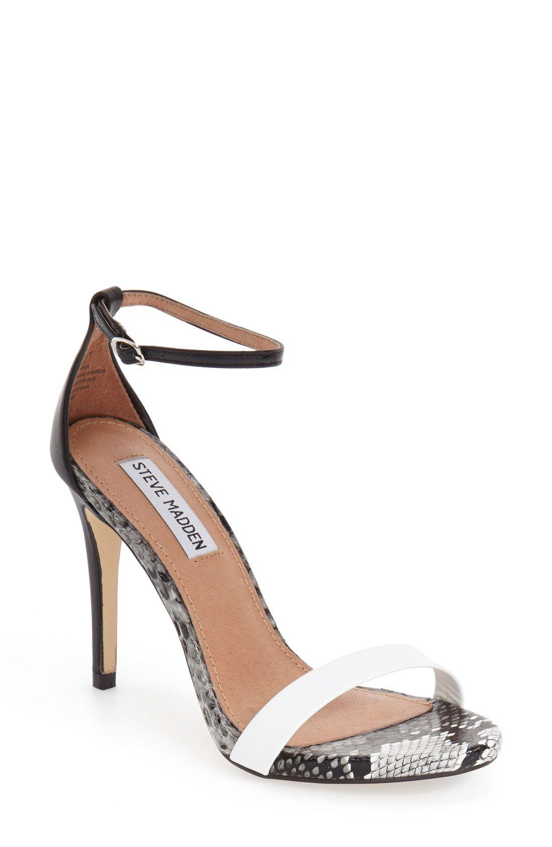 ae0769fa4e5 black and white Steve Madden high heels.  Stecy  Sandal (Women)