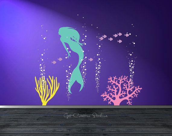 Mermaid Decal Mermaid Wall Decal Aquarium Bubbles Decal Girls Ocean Decal  Deep Sea Wall Decal Little