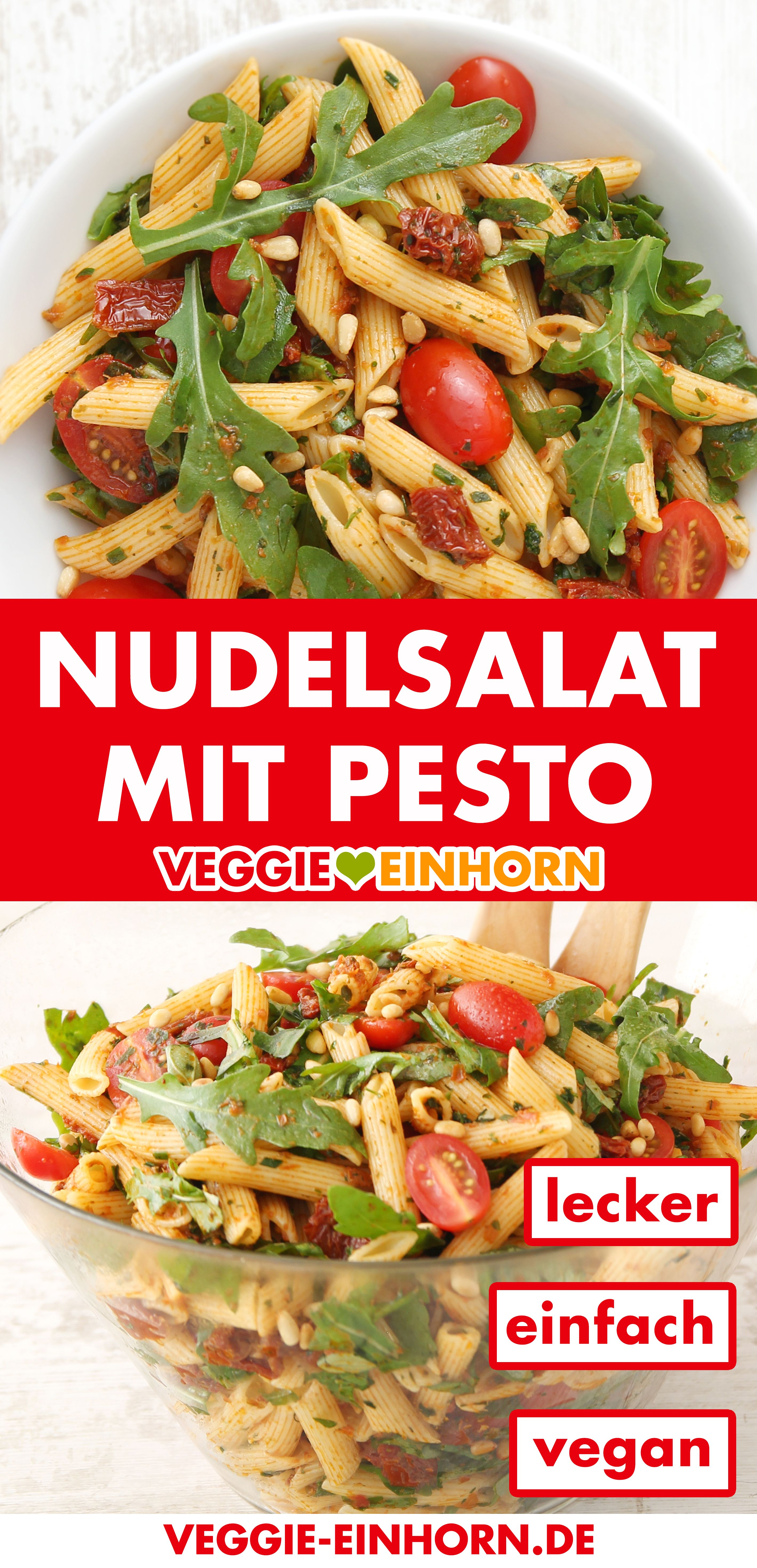 Photo of Simple Mediterranean pasta salad with pesto ▶ Quickly made with dried tomatoes and arugula
