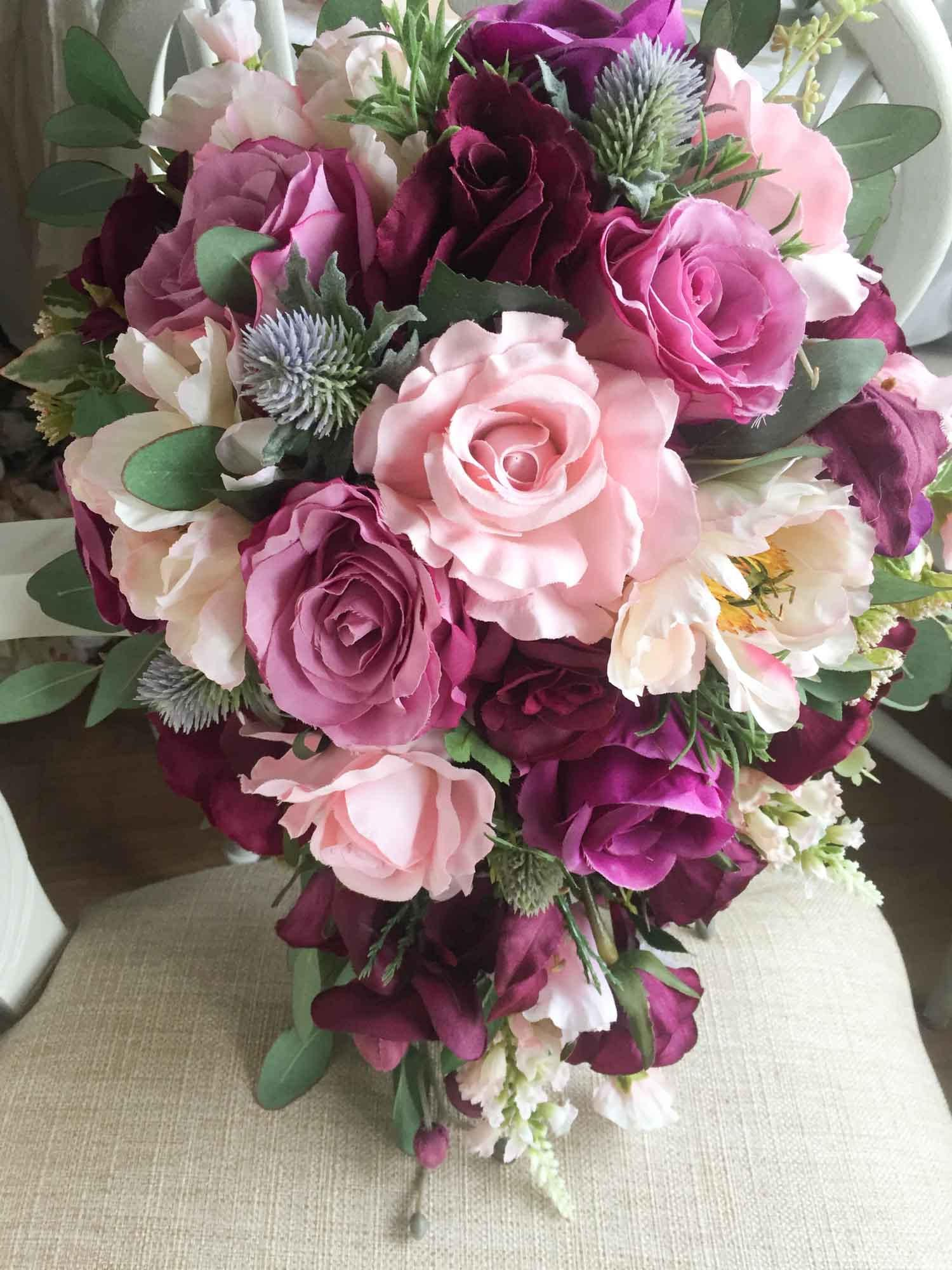 Pale pink dark pink and plum wedding bouquet shower bouquet made pale pink dark pink and plum wedding bouquet shower bouquet mightylinksfo