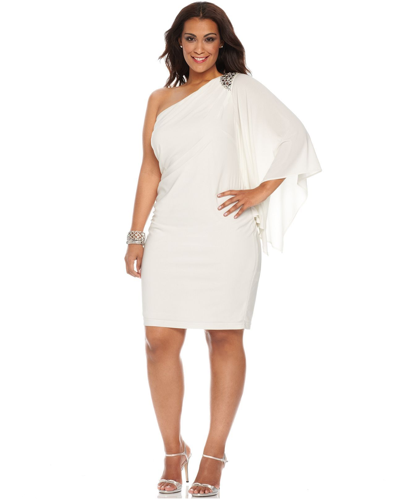 R Richards Plus Size Dress Three Quarter Flutter Sleeve One