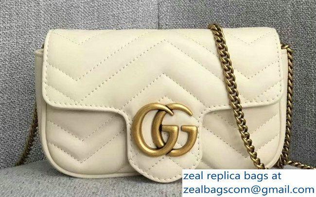 b7cc112d0f68 Gucci GG Marmont Matelasse Chevron Super Mini Chain Shoulder Bag 476433  White
