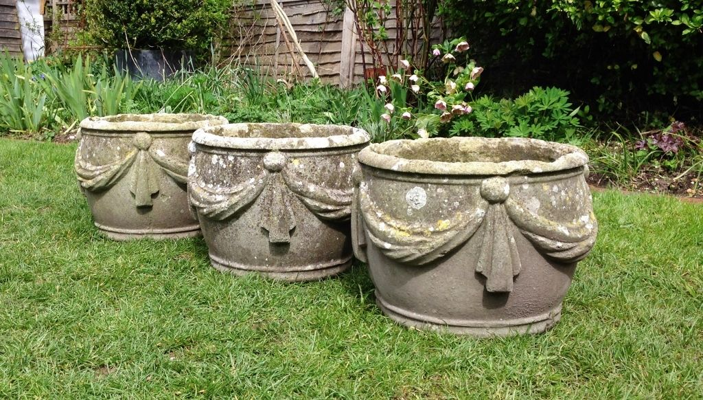 Set Of Swag Planters In From The Vintage Garden Company Vintage Garden Antique Urn Garden Urns