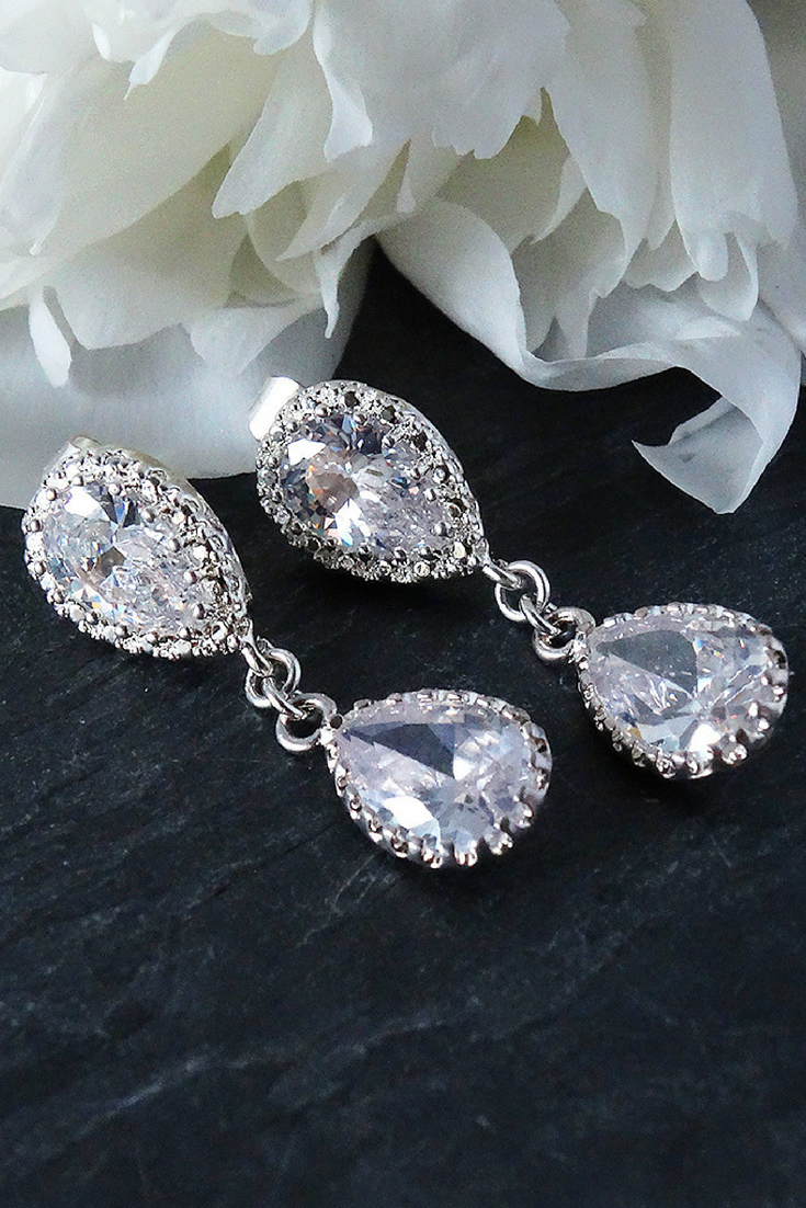 Bridal Earrings Wedding Jewelry Bridesmaids Gift Mother Of The Bride Groom Anniversary For Wife Bling Bridetobe