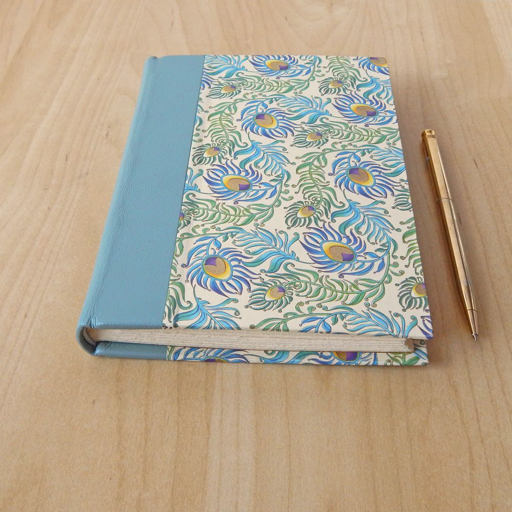Handmade Paper Book Cover : Peacock feather journal italian paper cover with leather