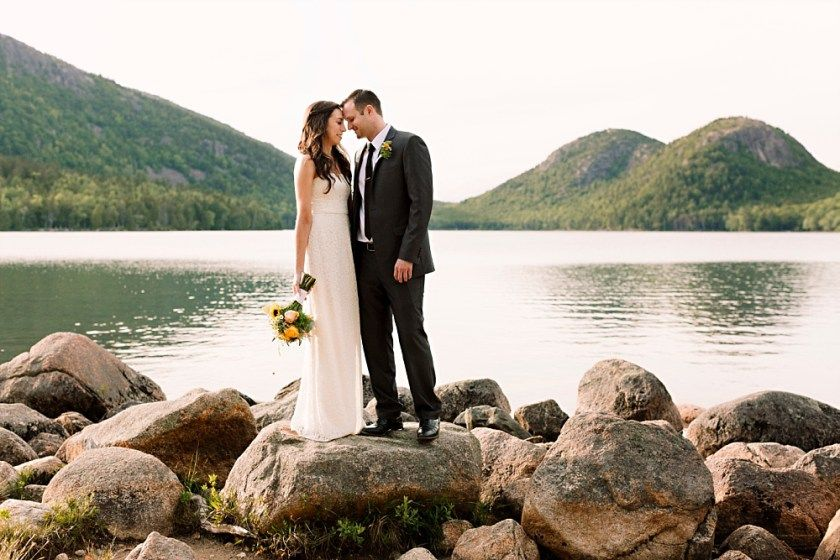 Jerette and Tom's Elopement in Acadia National Park Pond