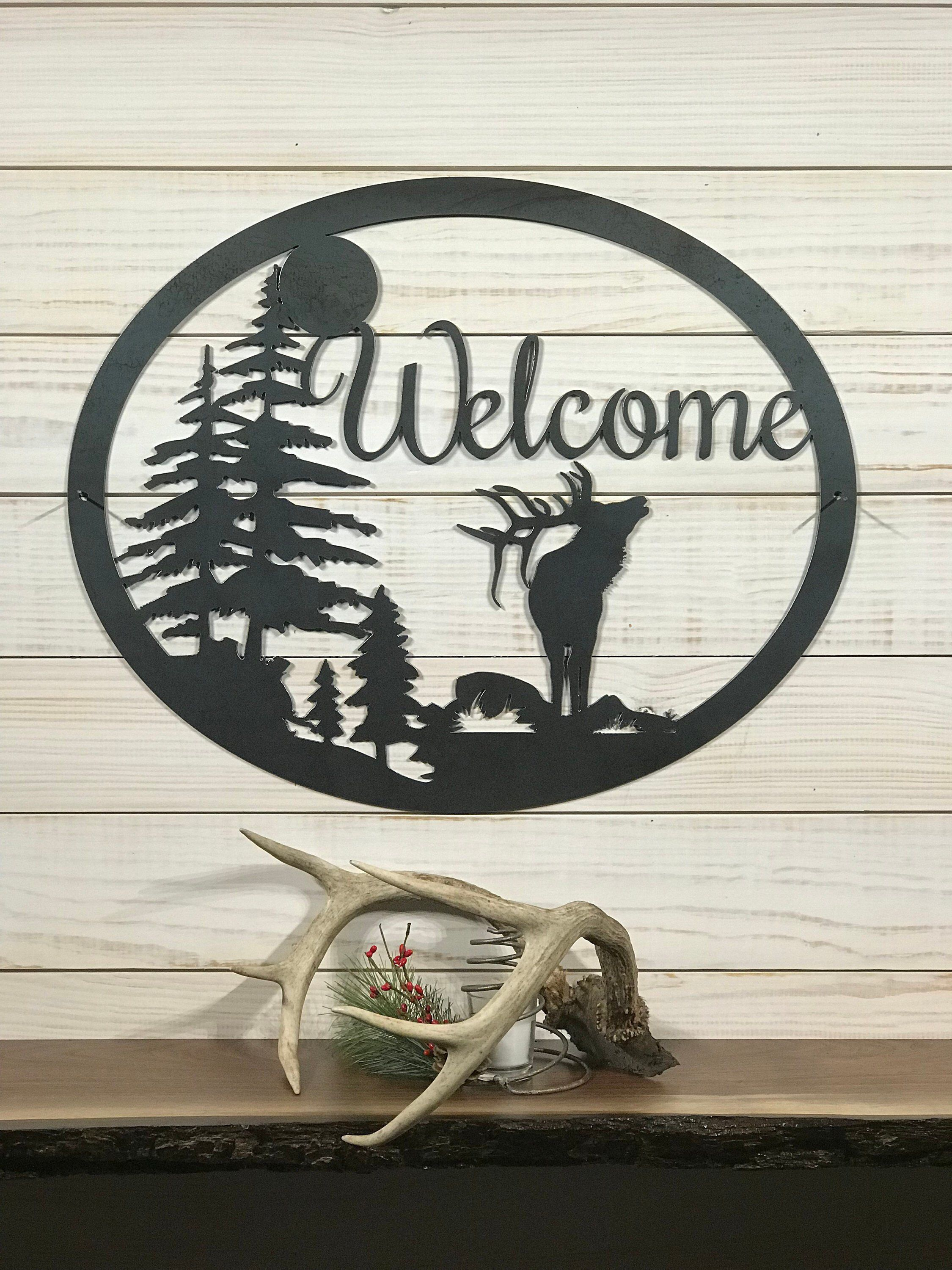 Large Metal Elk Welcome Sign 24 Inch Rustic Metal Decor Large Metal Sign By Precisioncut On Etsy Https Www Et Rustic Metal Decor Metal Decor Rustic Metal