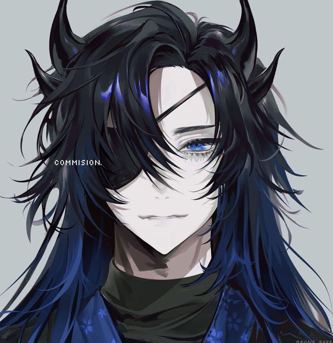 Anime Black Blue Hair Demonstrate Eyepatch Horns Blue Eyes Anime Male In 2020 Anime Anime Guys Blue Hair
