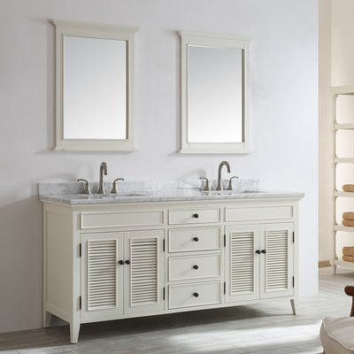 Beachcrest Home Fenwick 72 Double Vanity Set With Mirror Base Finish Antique White