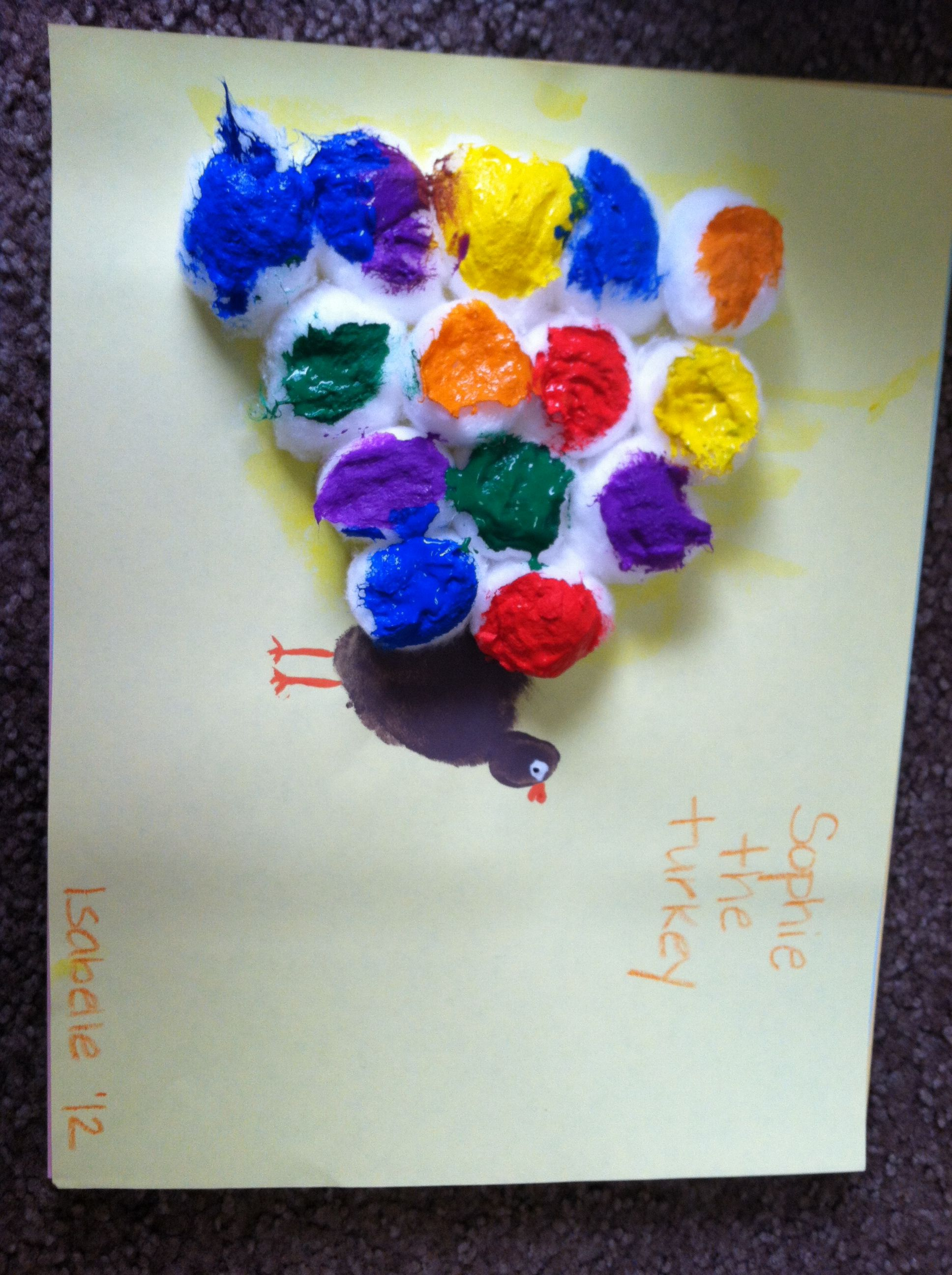Thanksgiving Crafts I Love Using Cotton Balls With Paint With My 2 Year Olds They Do Really