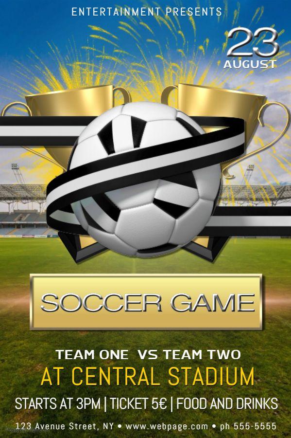 soccer game poster flyer social media post template