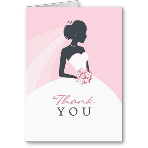"""Just had a Bridal Shower and want to send """"Thank You"""" Cards? Then this Elegant White Dress Bride Card is the one! And it's totally customizable!"""