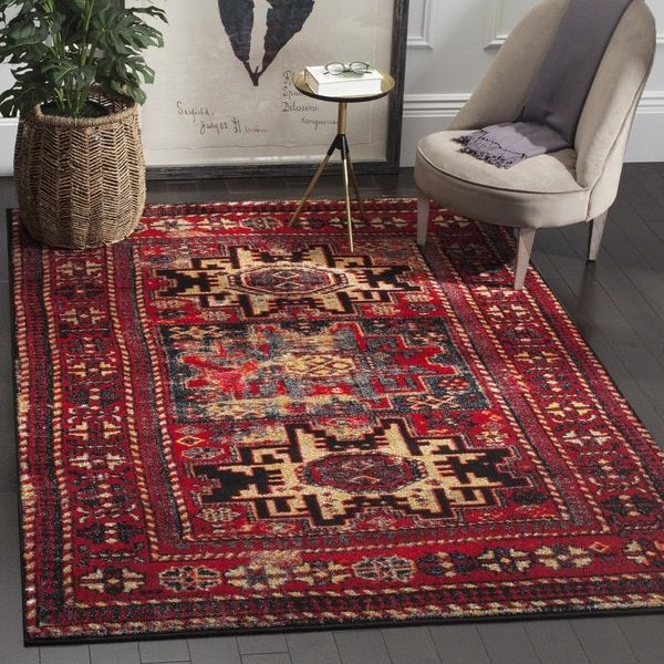 Safavieh Vintage Hamadan Traditional Red Multicolored Distressed Rug X Multi Size Polypropylene Oriental