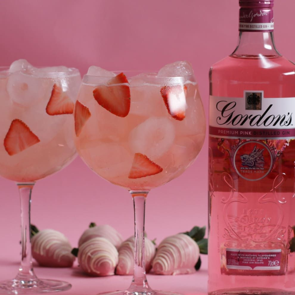 Strawberry And Rose Gordon S Pink Spritz Gin Cocktail Recipes Birthday Drinks Pink Gin Cocktails