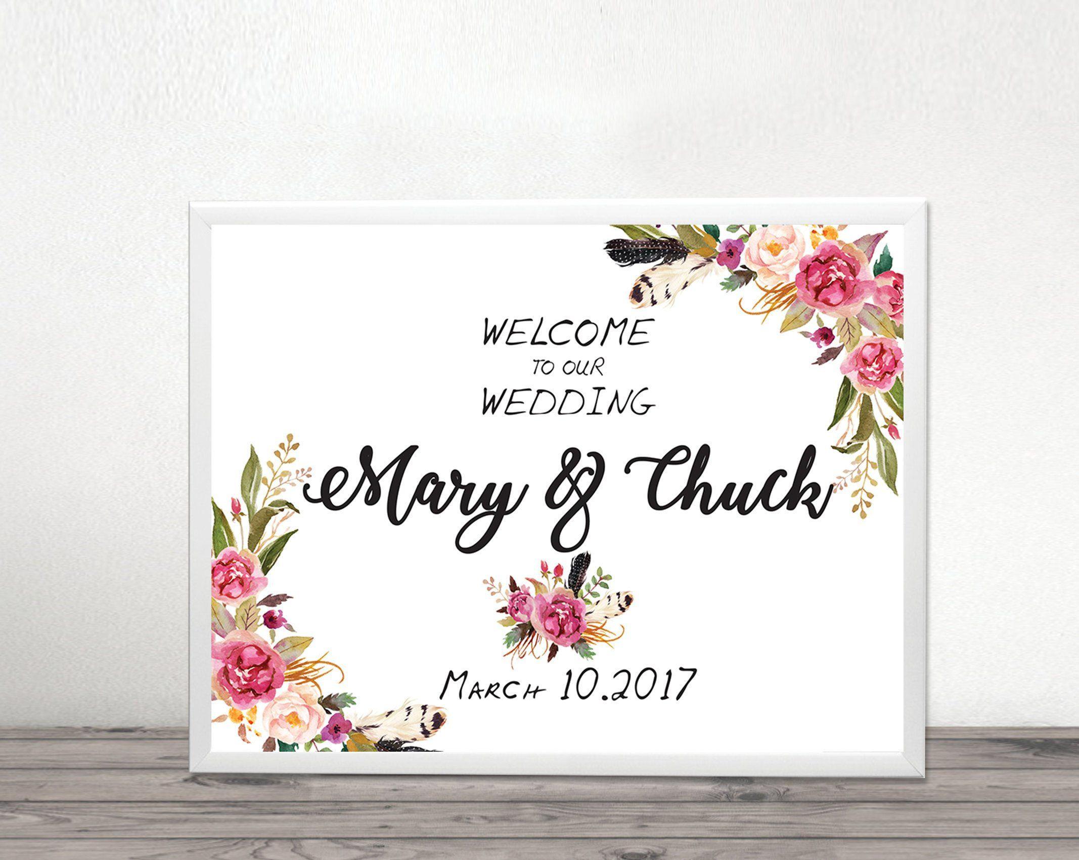 welcome wedding sign, Welcome Template, Flower Wedding sign