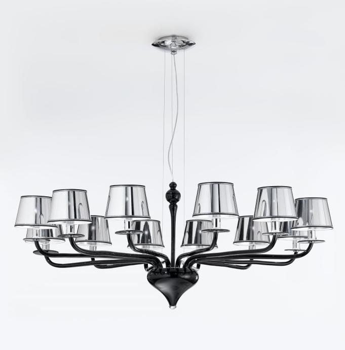 Contemporary modern black murano glass chandelier pendant chrome contemporary modern black murano glass chandelier pendant chrome shades 12 lights aloadofball Choice Image