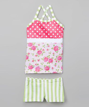 Love this Pink & White Polka Dot Floral Tank & Shorts - Toddler & Girls on #zulily! #zulilyfinds