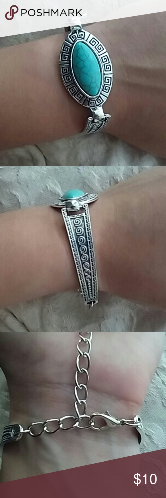 Turquoise tribal style bracelet! This silver bracelet is comfortable, lightweight and the beautiful turquoise stone is perfect for summer! Jewelry Bracelets