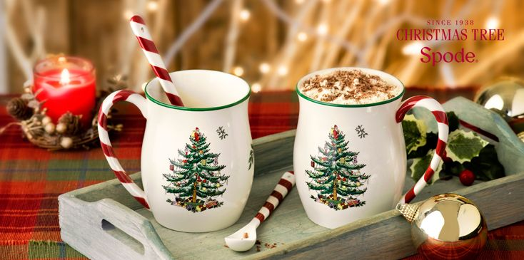 Spode Christmas Tree Mug with Peppermint Handles Set of 4 I LOVE these mugs  and spoons! - Spode Christmas Tree Mug With Peppermint Handles Set Of 4 I LOVE