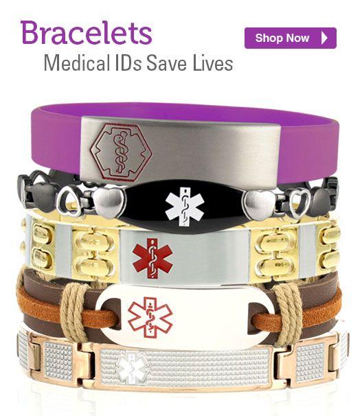 Medical Alert Bracelet /& Necklace Set Womens Allergies Epilepsy