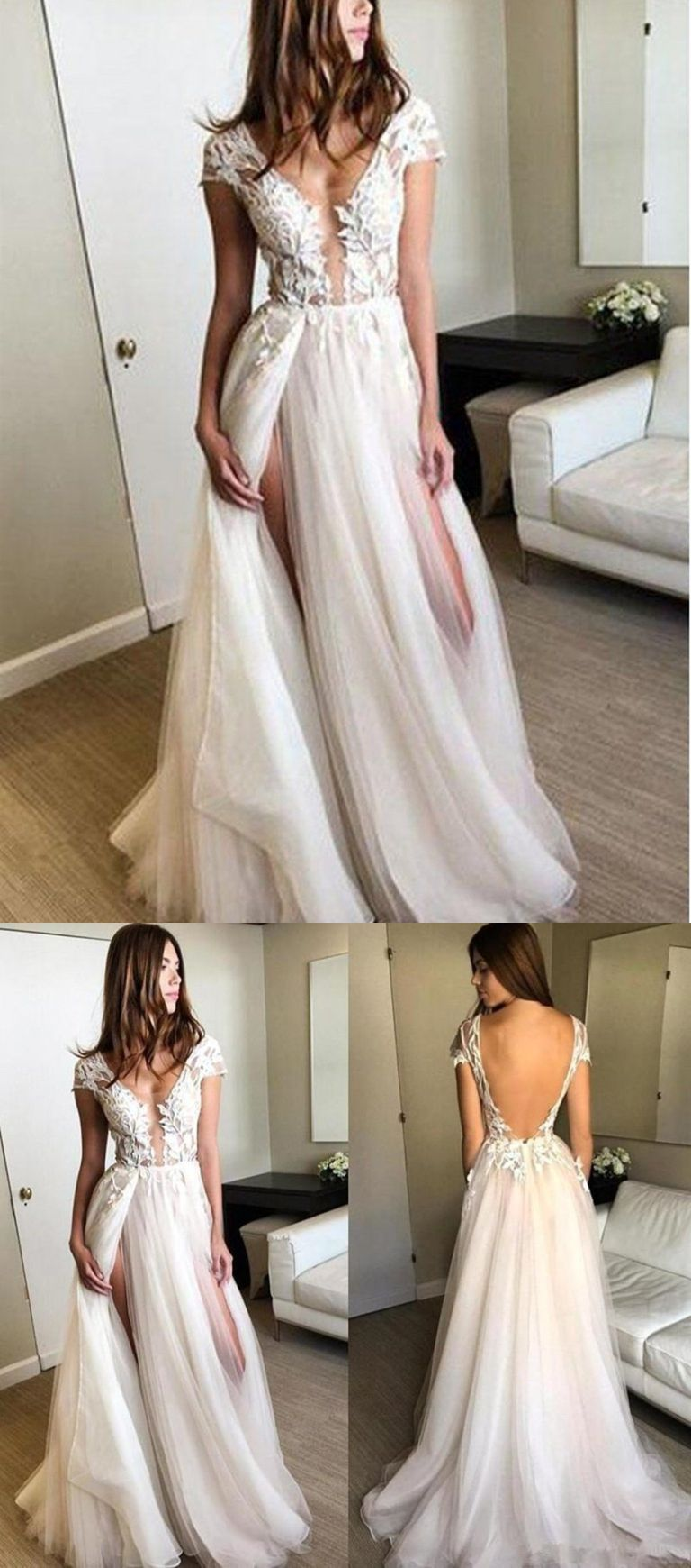 3d9b0805a38 Round Neck Cap Sleeves Backlesss Lace Wedding Dresses