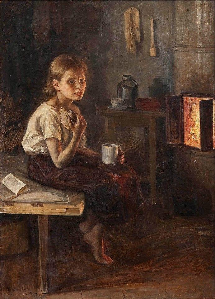 Elin Kleopatra Danielson-Gambogi (Finnish painter) 1861 - 1919 Tyttö Kiukaan Edessä (A Girl by the Oven), 1894 oil on canvas  93 x 67 cm.