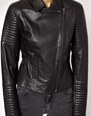 Image 3 of ASOS Leather Biker Jacket with Quilt Detail | LENJERIE ... : leather quilted biker jacket - Adamdwight.com
