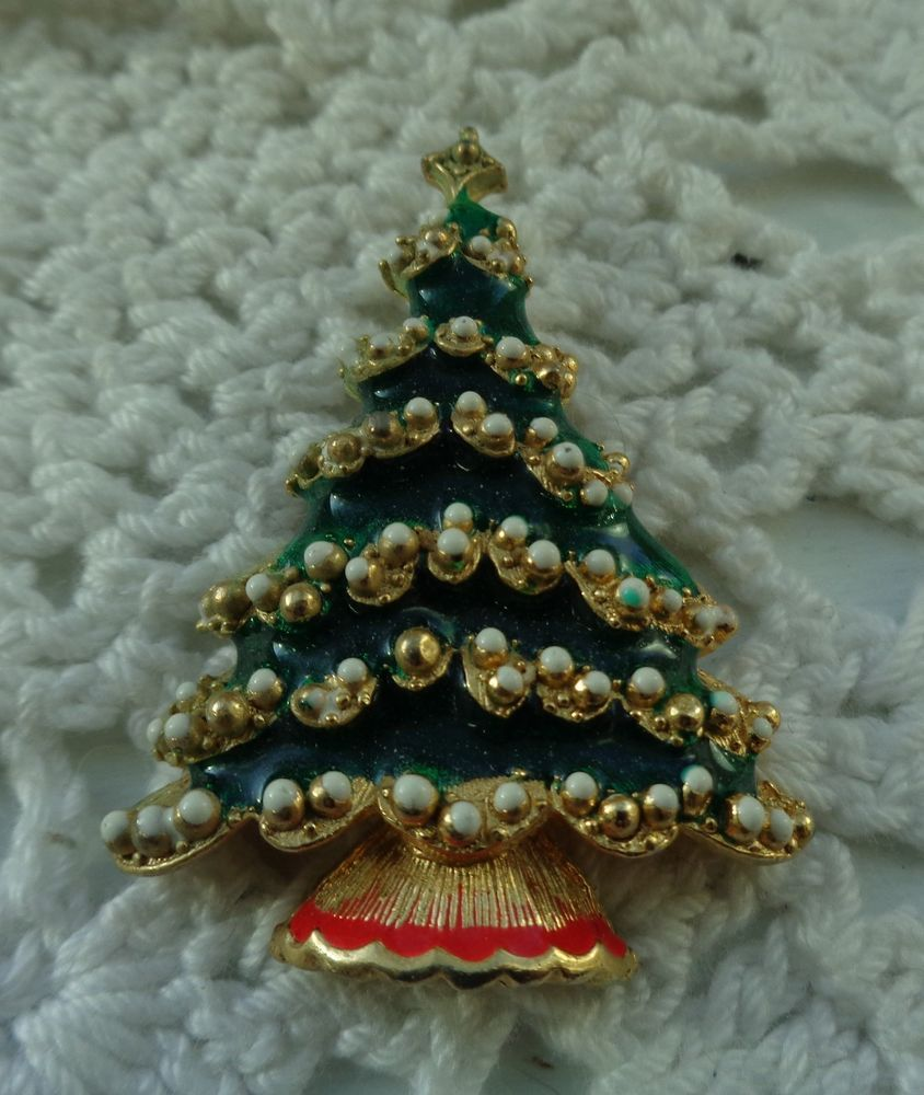 RARE+VINTAGE+WEISS+GOLD+TONE+CHRISTMAS+TREE+BROOCH+PIN+BEAUTIFUL+OLD+