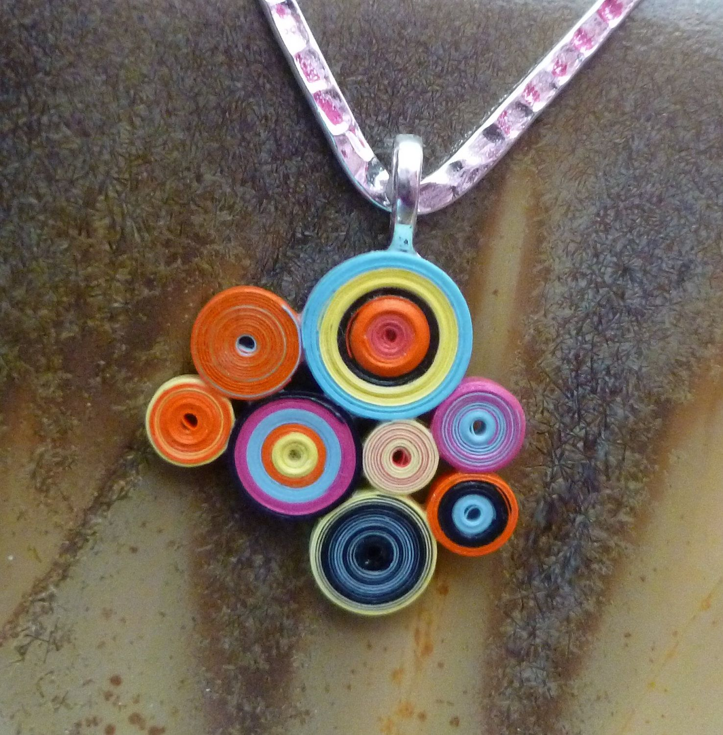 Colorful circles quilled paper pendant 3800 via etsy jewelry colorful circles quilled paper pendant 3800 via etsy aloadofball Images