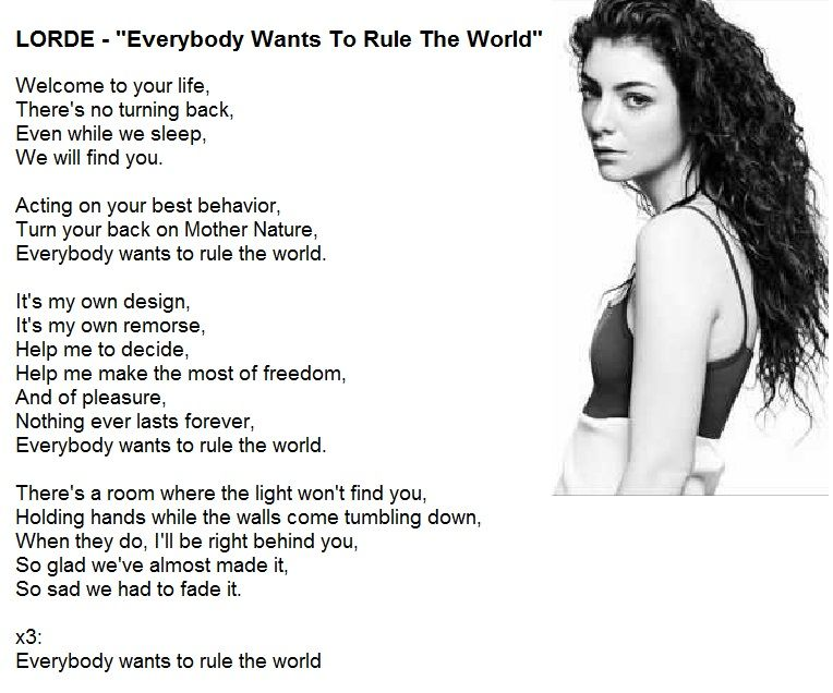 Lorde - Everybody Wants To Rule The World lyrics | Music - Lyrics ...