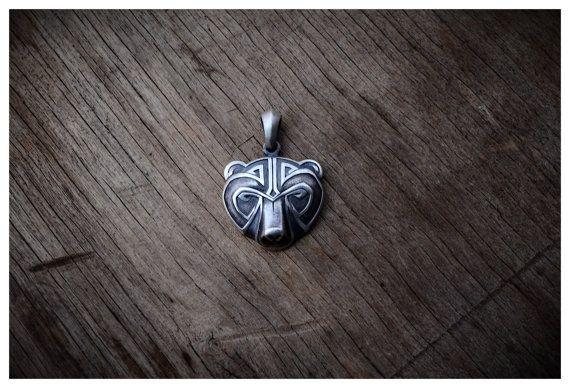 Silver Bear Head Necklace Pendant Celtic Animal Jewelry