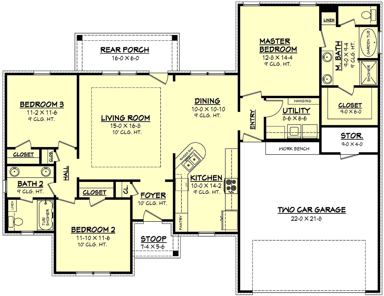 European Style House Plan 3 Beds 2 Baths 1500 Sq Ft Plan 430 62 With Images Bedroom House Plans House Layouts Acadian House Plans