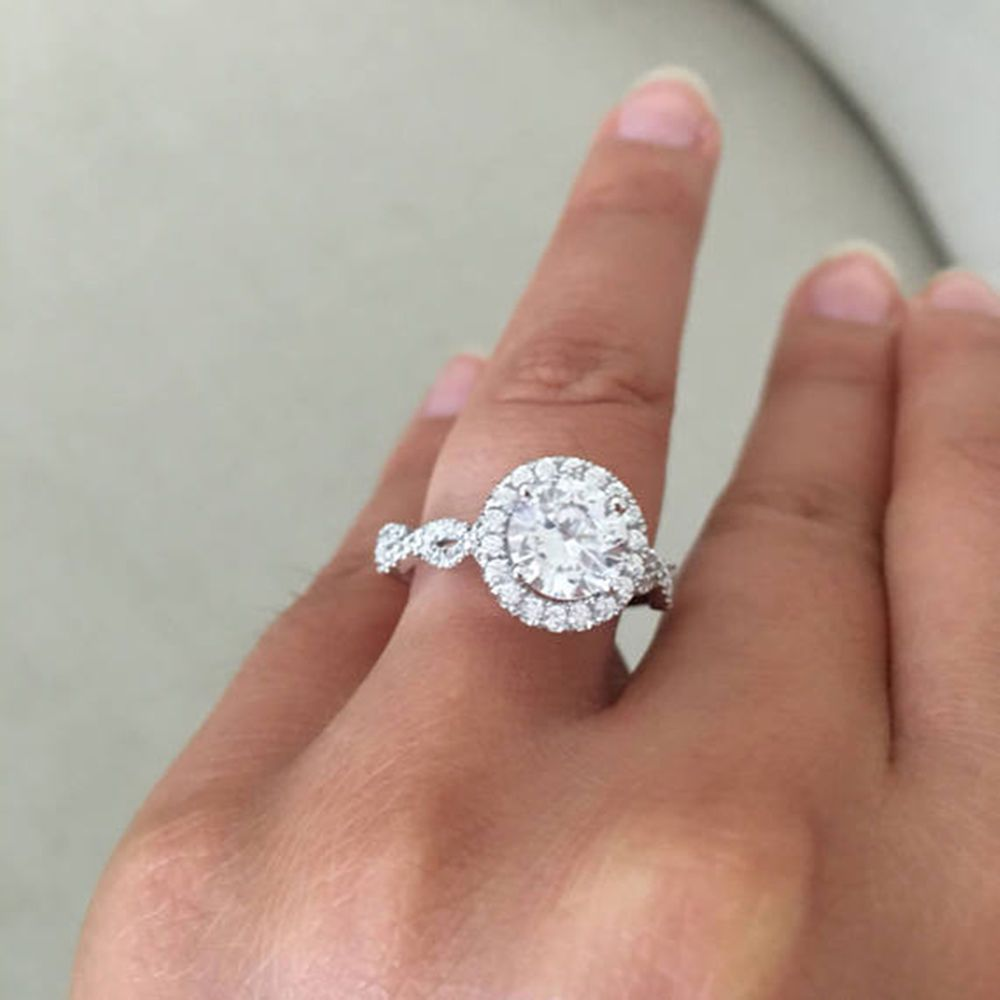 Everything Is Beautifully Set In An 10k White Gold Setting With An Approximate Gold Weight Of 4 5 Fine Engagement Rings Wedding Rings Halo Wedding Rings Unique
