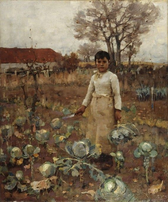 James Guthrie, 'A Hind's Daughter'. We've interrupted this girl in the middle of her gardening duties. She stares directly at us; her stance is territorial but not aggressive. Scottish artist James Guthrie drew great influence from the French Realist painter Jules Bastien-Lepage, who often painted figures in isolation staring directly at the viewer. Both artists were fascinated by the emergence of the camera. Imitating the device, the girl's face is painted with controlled, focused…