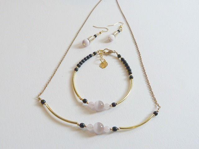 Parure 3 pièces plaqué or pour les fêtes ou pour sortir , noir et or , style classique et moderne : Parure par zepeel-bijoux