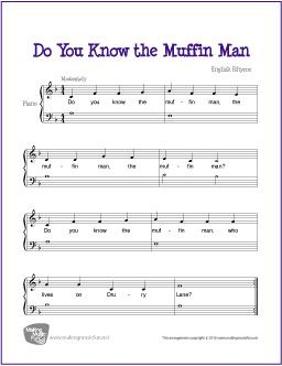 Do You Know The Muffin Man Sheet Music Beginner Piano Music
