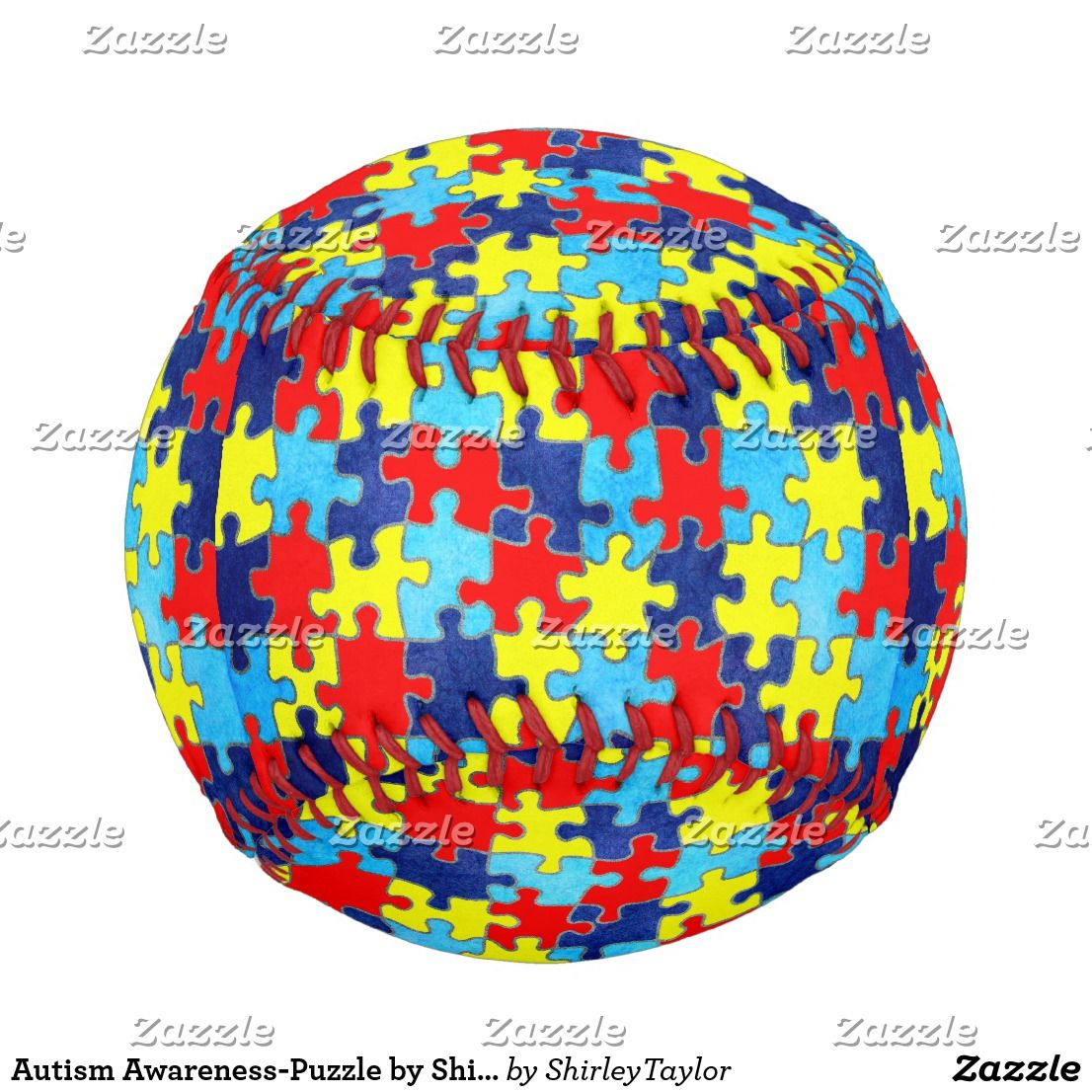 Autism Awareness-Puzzle by Shirley Taylor Baseball