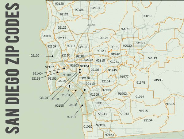 San Diego Zip Codes Map San Diego Zip Codes | San DIEGO, California, USA | San Diego  San Diego Zip Codes Map