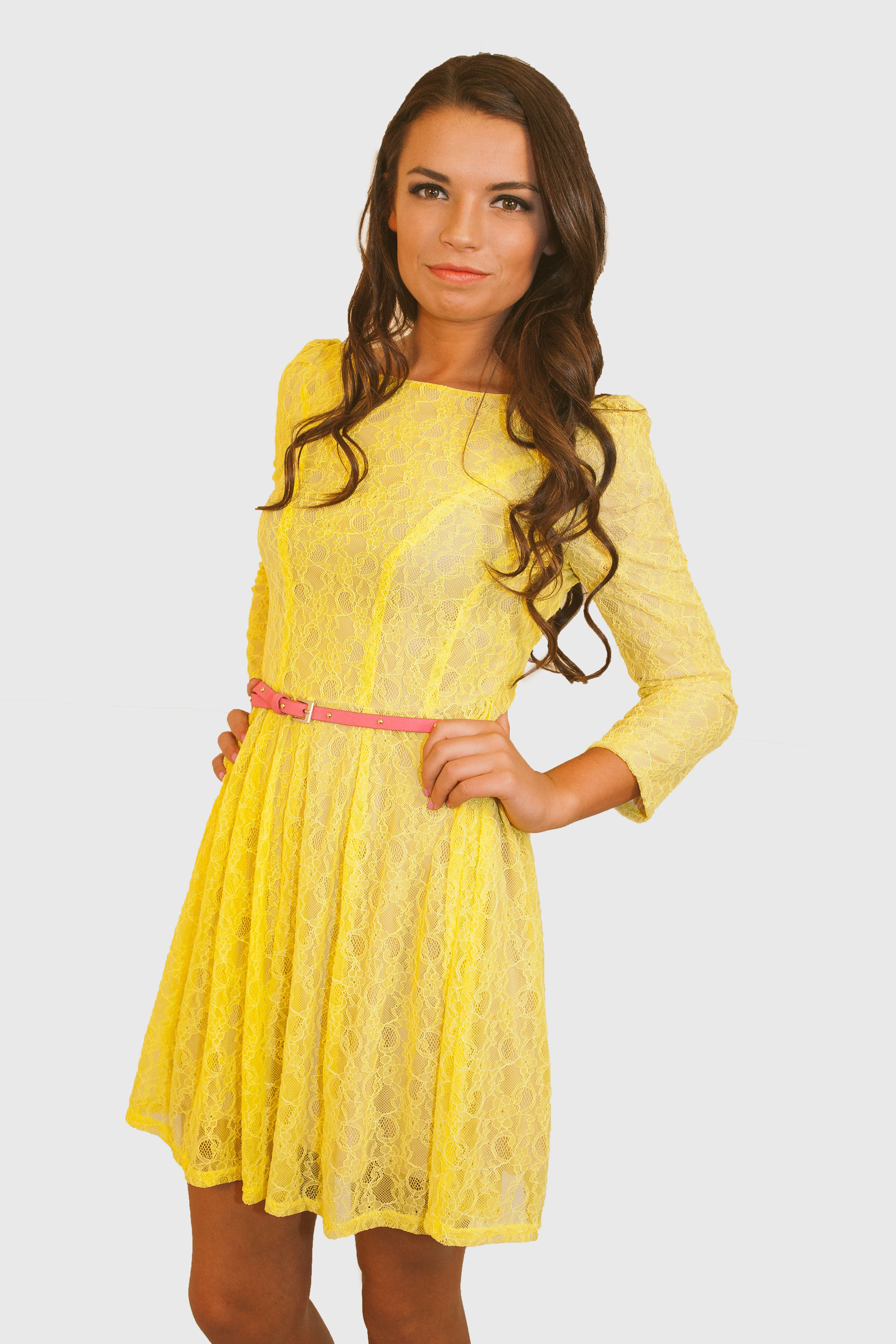 Cheery yellow lace dress now on sale hardtboutique