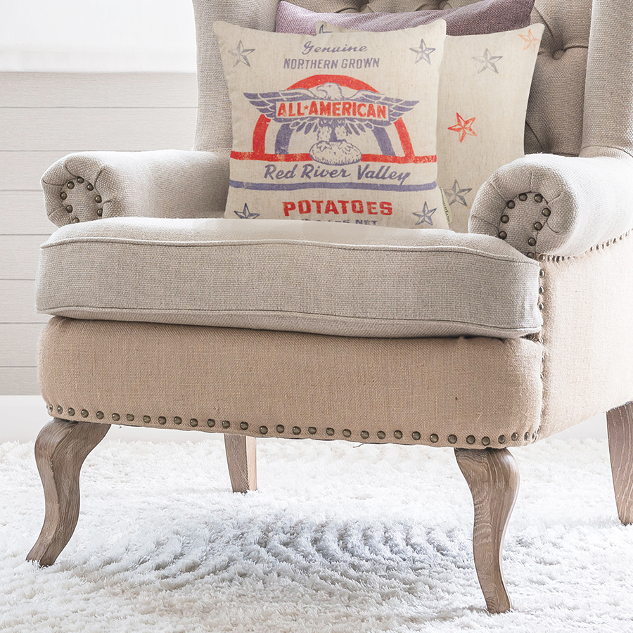 Place our All American Throw Pillow on your bed, reading