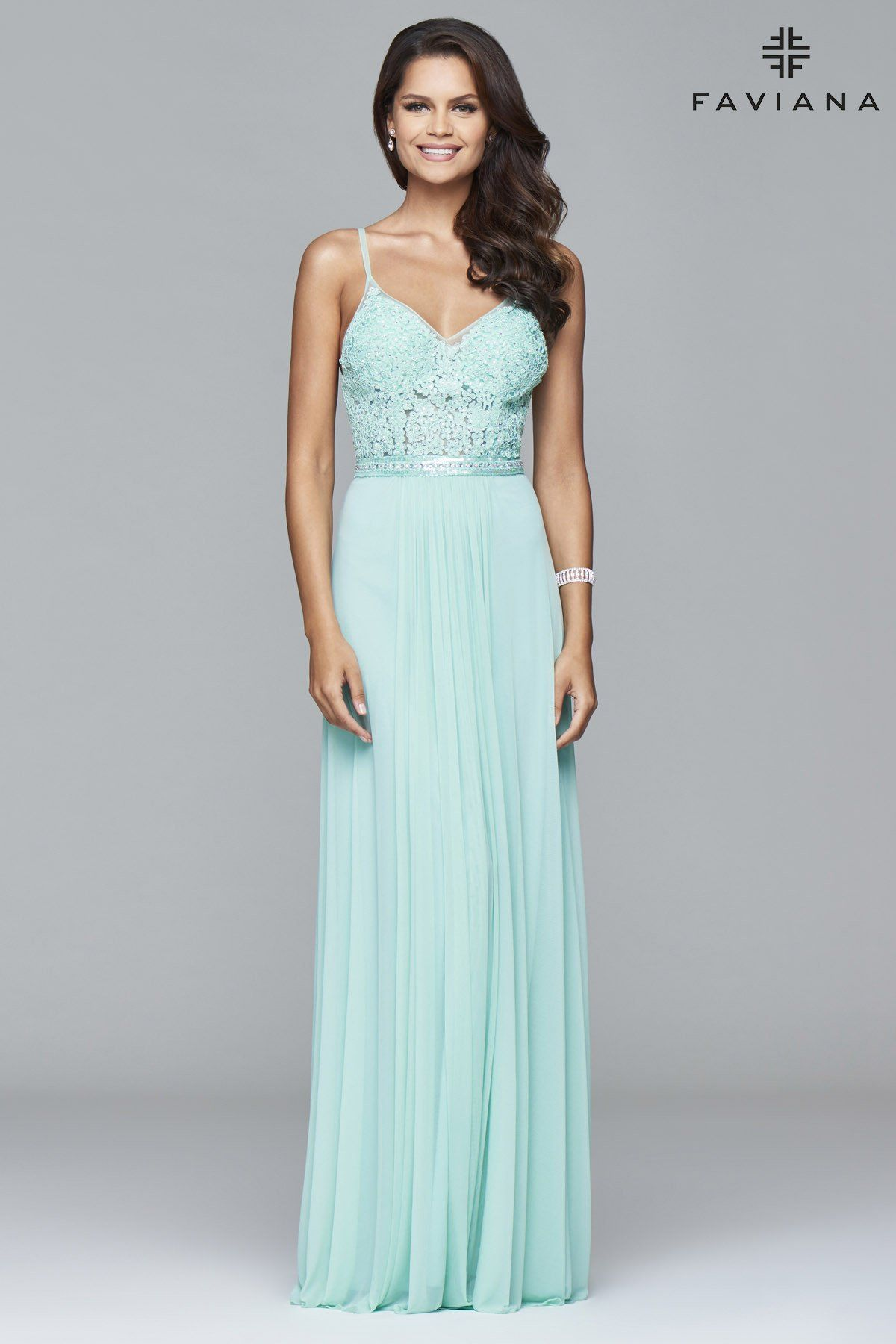 d553cd9d59 Faviana 7717 Mesh v-neck with lace and beading detail