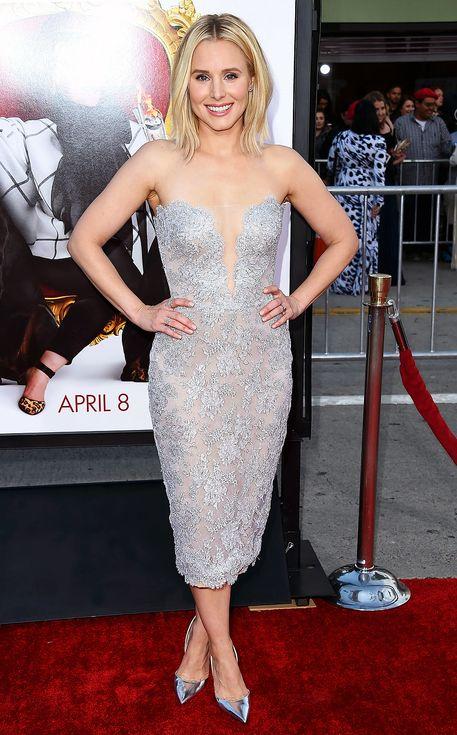 Kristen Bell in a strapless silver lace Reem Acra dress | Celebrity ...