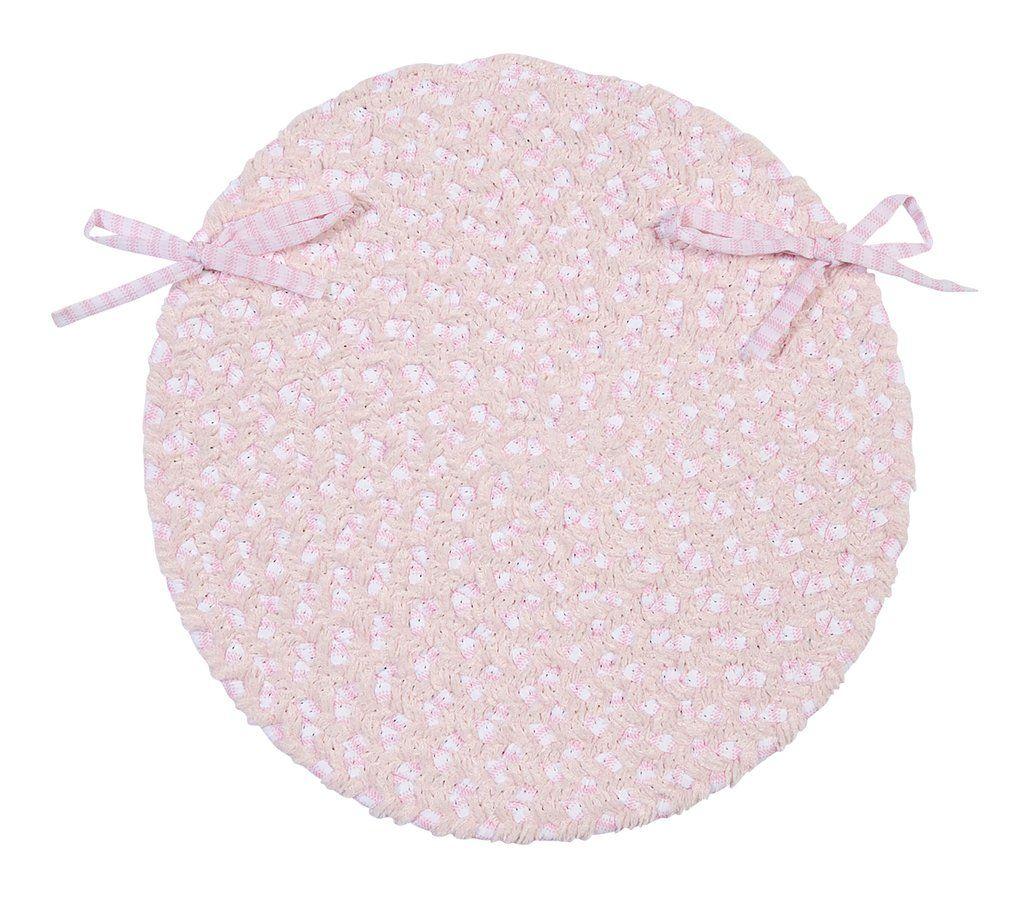 Chenille Blend Round Braided Chair Pad, BK78 Blush Pink