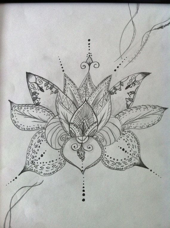 Lotus Flower Art Henna Style 12x14 Pencil Drawing Original