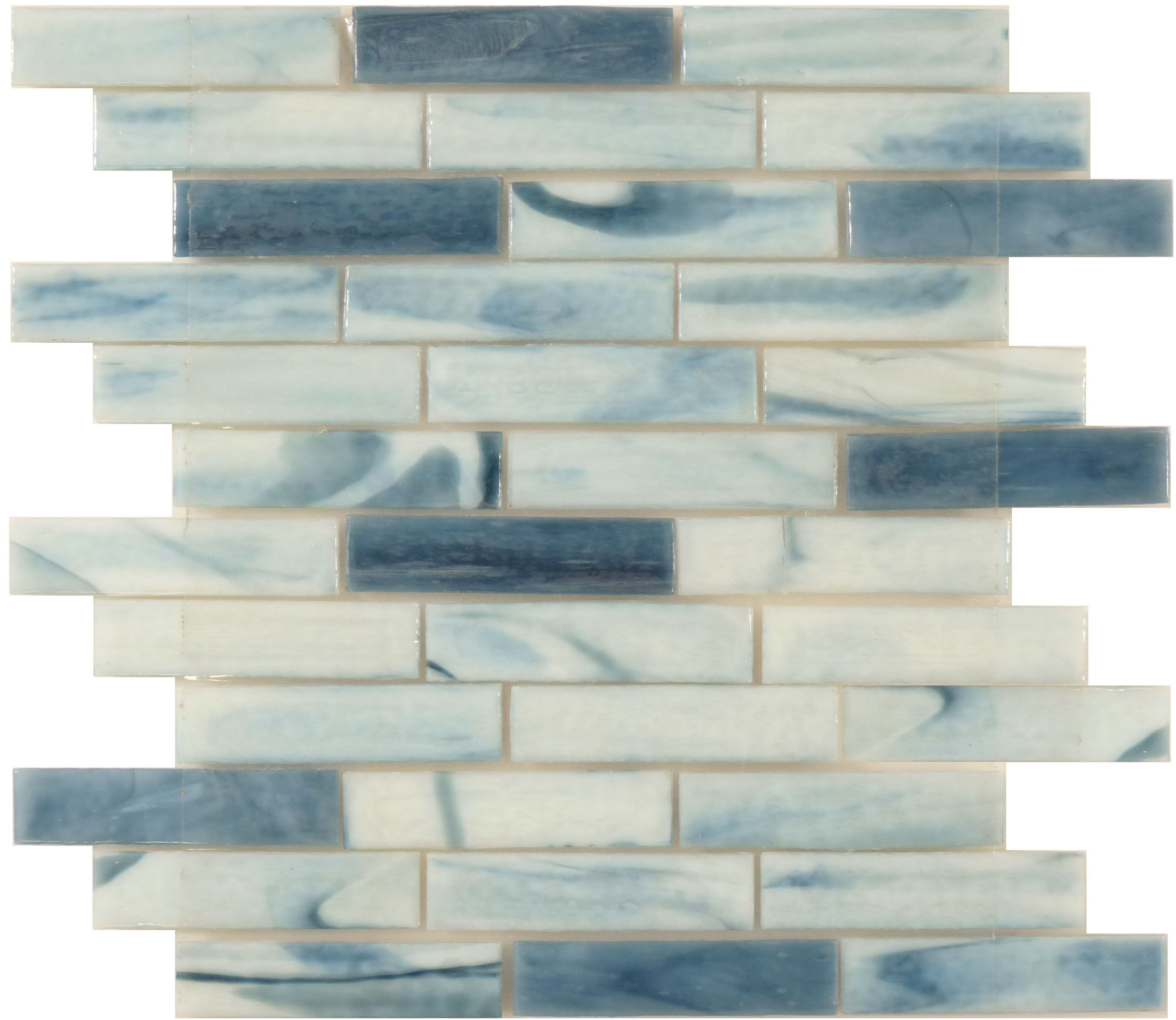 Clouds Blue 1\'\' x 4\'\' Glass Glossy Tile   Grout, Corner and Bathroom ...